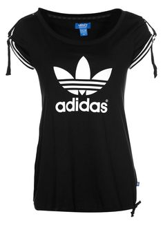 adidas originals women clothing   adidas Originals Print T-shirt - black - Zalando.co.uk