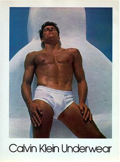 1982 advertisement for Calvin Klein underwear, which towered over Times Square, used Bruce Weber's Santorini photograph of Tom Hintnaus, an Olympic pole vaulter.