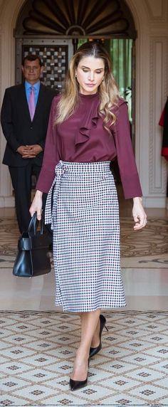 CLASSIC[spring]: midi wrap skirt; frill burgundy blouse