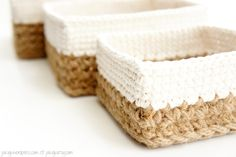 Free Crochet Pattern - Square Stacking Baskets by JaKiGu
