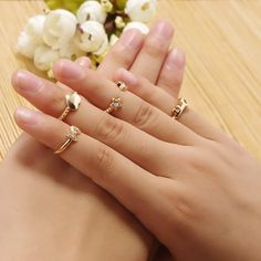 Mid Finger Ring, Zinc Alloy, plated, with rhinestone, more colors for choice, nickel, lead & cadmium free, 15mm-16mm, US Ring Size:4.5-5.5, 3Sets/Bag, 6PCs/Set,china wholesale jewelry beads