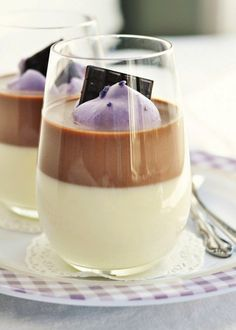 Layered Chocolate, Vanilla Bean, Lavender Panna Cotta | Community Post: 13 Sweet Ways To Cook With Lavender This Spring