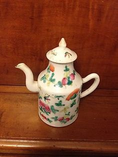 Chinese-Antique-19th-Century-Porcelain-Teapot-Famille-Rose-Qing-Dynasty