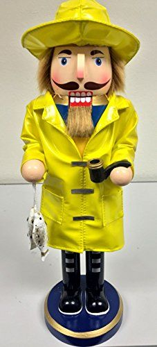 Ocean Sea Fisherman Yellow Jacket Wooden Christmas Nutcracker 14 Inch Decoration >>> Want to know more, click on the image.
