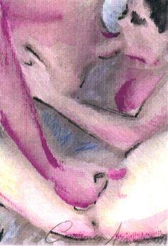 """""""Nus 2"""" - Aquarela e lápis-de-cor. Projeto """"Delta Z"""". Setembro 2004. Arte Erótica."""