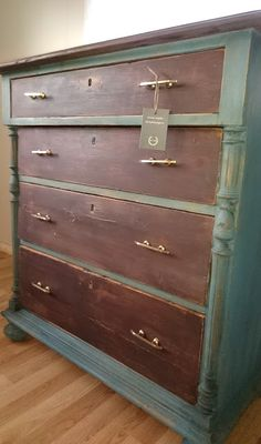 Vintage dresser painted with Miss Mustard Seed Milk paint Curio and Flow Blue --- Frugal Furbishing