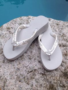 Wedding Flip Flops/Wedges for Brides/Bridesmaids. by RocktheFlops, $39.95