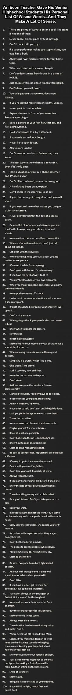 Wise Words! Love this List! #Quotes #Words #Wisdom #Inspiration