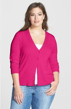 Sejour V-Neck Cardigan (Plus Size) available at #Nordstrom