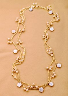 Nice Gold Alloy Chain Necklace With Natural Shell And Simulated Pearl $17.98