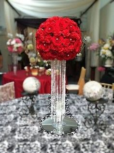 6 Tall Glass Cone Vases With Crystals 20""