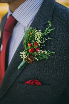 Top 11 Winter Wedding Color Palettes Top 12 Wedding Color Palettes to Warm Your Winter Day--winter Christmas wedding, groom with navy suit and burgundy tie, berry and pine boutonniere. Christmas Wedding Centerpieces, Christmas Wedding Flowers, Christmas Wedding Suits, Winter Wedding Flowers, Deco Floral, Floral Design, Groom And Groomsmen, Groom Suits, Groom Attire