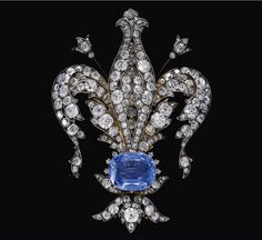 "NOT ""Habsburg Sapphire Parure of Empress Marie-Louise of France. Sapphire and diamond necklace, late 19th century.   Sapphire and diamond brooch, late 19th century""  How can it be both the empress's and be the late 19th c., as she died in 1847?  Property of an Austrian nobleman sold at auction."