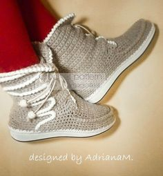 Crochet boots pattern women laced-up boots for by magic4kids