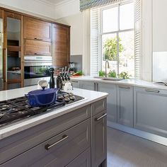 Pale grey kitchen with painted island | Decorating