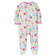 Little Me Baby Girl Flower Soft Zip Footie Pajamas Footed Sleeper White 12M