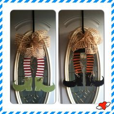 Reversible witch and elf legs door hanger by Signsbyyaya1 on Etsy, $30.00