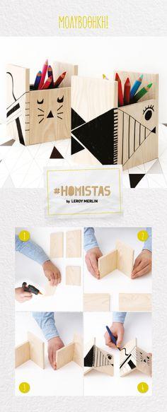 Η νέα σχολική χρονιά ξεκινά με νέες δημιουργίες! Φτιάξτε μια ξύλινη μολυβοθήκη και ζωγραφίστε τη μαζί με τα παιδιά, φυσικά με τις οδηγίες των #HOMISTAS! Merlin, Magazine Rack, Storage, Cards, Furniture, Home Decor, Purse Storage, Decoration Home, Room Decor