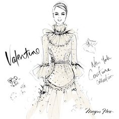 I just died and went to Valentino Heaven!! @maisonvalentino have just shown their latest Couture show in New York and it was spectacular!! Here's my favourite design from the collection. You can watch the show at: live.valentino.com - my sketch is of the second last dress on the runway....heaven