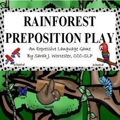 Practice expressive and receptive language skills, and tons more with this Preposition Activity! Speech Language Therapy, Speech And Language, Speech Therapy, Rainforest Activities, Rainforest Theme, Preposition Activities, Language Activities, Receptive Language, Prepositions
