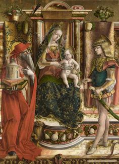 """Carlo Crivelli, """"La Madonna della Rondine"""" (The Madonna of the Swallow), after 1490 Italian Renaissance Art, Renaissance Kunst, Renaissance Image, Madonna, St Jerome, Christ The King, Religious Paintings, Caravaggio, Classical Art"""