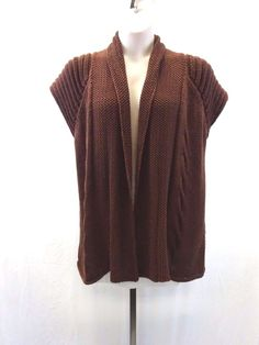 MONTEREY BAY Brown Open Cable Knit Sweater Short Sleeve Women's Size XL #MontereyBay #WrapSwing