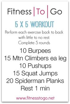 5 x 5 Wednesday Workout Fitness Diet, Fitness Motivation, Health Fitness, Fun Workouts, At Home Workouts, Fitness Workouts, Wednesday Workout, Boot Camp Workout, Travel Workout