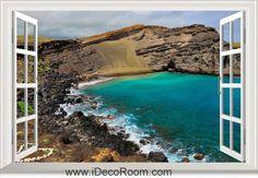 3D Hawaii Rocks Ocean window wall sticker art decal IDCCH-LS-004137