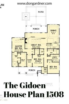 The Gideon house plan 1508 is now available for purchase! 1885 sq ft | 3 Beds | 2 Baths The Gideon is a simple Craftsman house plan with a courtyard entry garage and a prominent front facing shed dormer. The floor plan makes the most of its modest square footage with open living spaces and private bedrooms. Arrays of skylights brighten the great room and master suite while vaulted ceilings visually enhance these rooms. #wedesigndreams #cottagehouseplan Cottage House Plans, Country House Plans, Open Space Living, Living Spaces, Unique Small House Plans, Shed Dormer, Courtyard Entry, Large Sheds, One Story Homes