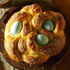 Grandma Nardi's Italian Easter Bread Recipe -My Grandma Nardi's bread with dyed Easter eggs represents family and tradition. I fondly remember how she taught me the recipe when I was a little girl. —Pat Merkovich, Milwaukee, Wisconsin