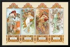 Mucha The Four Season Lamina Framed Poster by Alphonse Mucha at Art.com