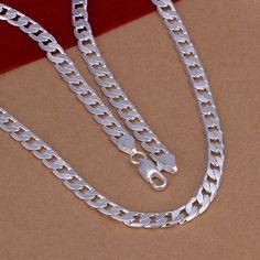 silver necklace women 6MM Sideways Chain collier SMTN047