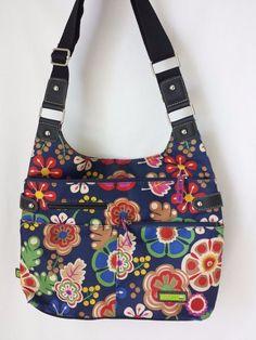 Lilly Bloom Purse Bag Messenger Cross Body Navy Blue Floral #LillyBloom #CrossBody #purse #bag