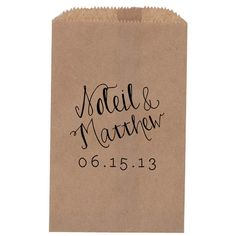 How cute are these personalized rustic wedding treat bag?