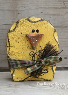 One (1) Chunky Spring Chick Shelf Sitter    Make a statement on any shelf or mantel this Spring. This chick is made of from 2 inch think wood