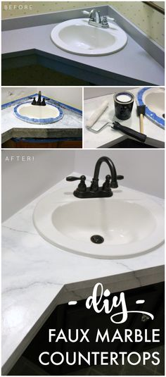 How to paint your countertops to look like marble!  DIY bathroom makeover on a budget. @ohthefun921's: Giani Countertop Transformation {Review & How-To}