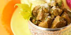 Curry d'agneau au lait de coco, riz safrané aux fruits secs
