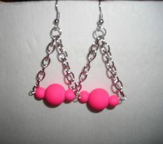 Handmade Drop Dangle Hook Earrings with Silver Chain and Hot Pink Beads #Handmade #DropDangle/$7.00