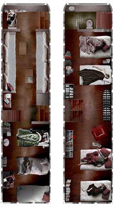 double decker bus hotel concept illustration