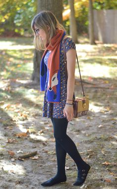 Foxes and Floral from alittlelau.com #foxes #foxscarf #modcloth #fallfashion