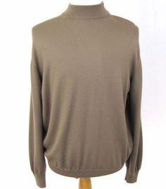 Ermenegildo Zegna Sweater XL 44 100% Wool Brown Mock Neck Pullover Sweatshirt #ErmenegildoZegna #Crewneck