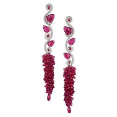 "Fabio Salini Gioielli - Carved Ruby Earrings with a ""grape cluster"" of pear-shaped Rubies, white gold and diamonds"