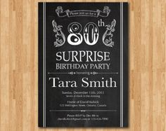 surprise 80th birthday party invites - Google Search