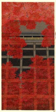 """「紅葉舞台」 加藤晃秀 """"Autumn at Kyomizudera"""", woodblock print by Teruhide KatI, Japan"""