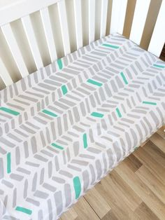 Grey Mint Large Herringbone Fitted Cot Sheet Elske