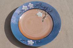 vintage hand-painted Japan cherry / plum blossom porcelain tea set, pot, cups & saucers, plates
