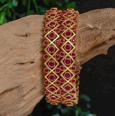 Silver Jewelry Broad Designer Full Ruby Bangle pair made in Silver Indian Jewellery Design, Indian Jewelry, Jewelry Design, Gold Jewellery, Handmade Jewellery, Leather Jewelry, Diamond Jewelry, Jewelry Ideas, Jewelery