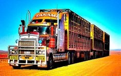 """Traversing the desert route from Darwin to Adelaide in Southern Australia, these trains are often called the """"tyre kicker's paradise"""". They often have more than 60 tires (or """"tyres"""" as spelled in Australia), routinely travel 3,000 km between destinations and look like they can eat your typical Peterbilt for breakfast."""