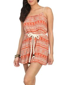 Rope Belted Print Dress from WetSeal