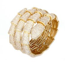 Latest real gold plated with AAA Zircon stone Snake Luxury Bangles women bracelet Mirco pave Vintage jewelry free shipping